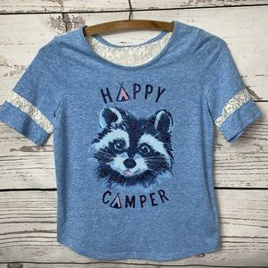 """NWOT Justice """"Happy Camper"""" Tee with Lace Sleeves"""